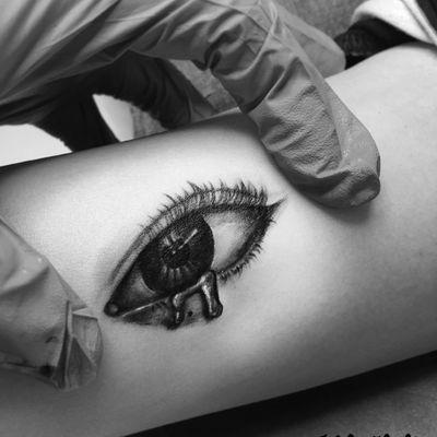 手臂眼睛纹身款式图