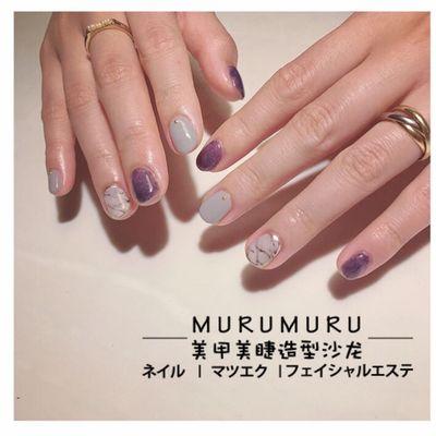 柔紫大理石美甲图