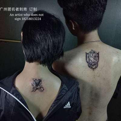 情侣花体字纹身款式图