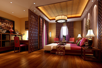140平米别墅东南亚风格卧室设计图