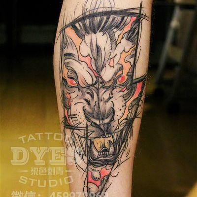 设计风格狮子纹身图
