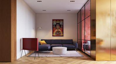 60平米三室两厅混搭风格客厅装修案例