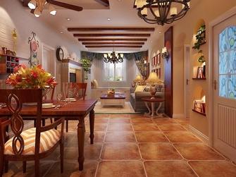 140平米三室两厅田园风格走廊图片