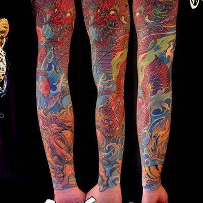 彩色龙新传统花臂纹身款式图