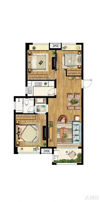 10-15万100平米三室一厅现代简约风格其他区域图片