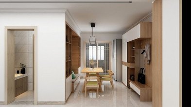 130平米三室两厅田园风格餐厅效果图