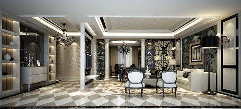 100平米三室一厅现代简约风格客厅背景墙欣赏图