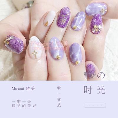 紫色大理石美甲图