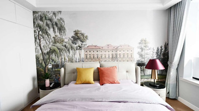 富裕型110平米四现代简约风格卧室图