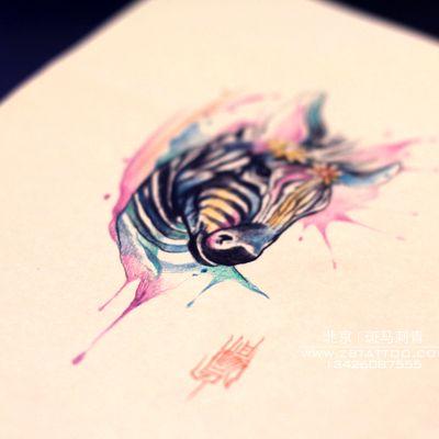 斑马手稿纹身款式图