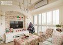 130平米三室两厅田园风格客厅飘窗图片