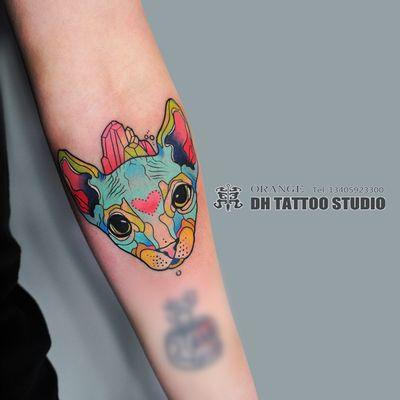 渐变猫纹身图