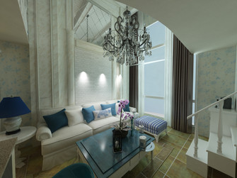 3-5万60平米一室一厅英伦风格客厅效果图