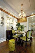 140平米三室两厅混搭风格餐厅背景墙图片