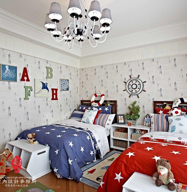 第一張兄妹雙人兒童房間裝修設計圖看起來就十分靚麗清新啊,白灰色