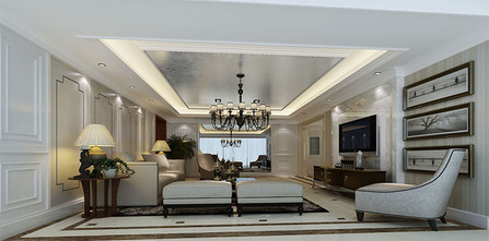 140平米三室三厅新古典风格客厅效果图