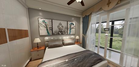 80平米一室两厅美式风格卧室装修案例