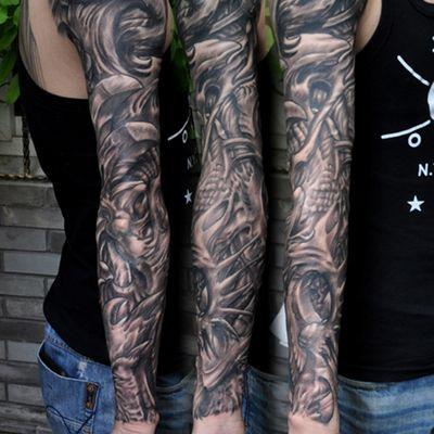3D黑白花臂纹身图