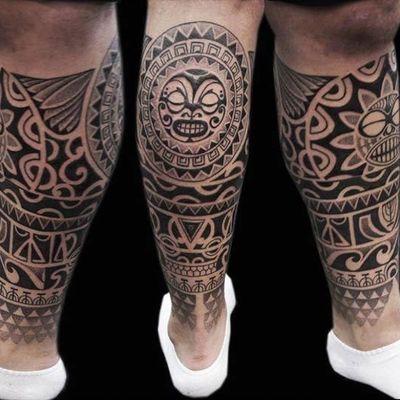 图腾包小腿纹身图