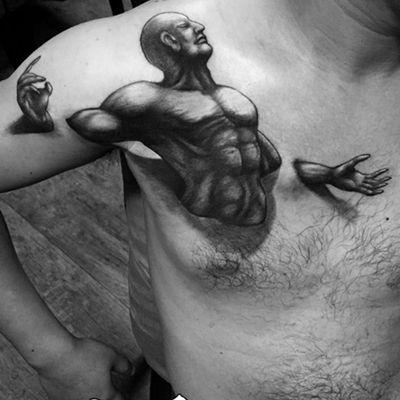 束缚挣脱黑白纹身图