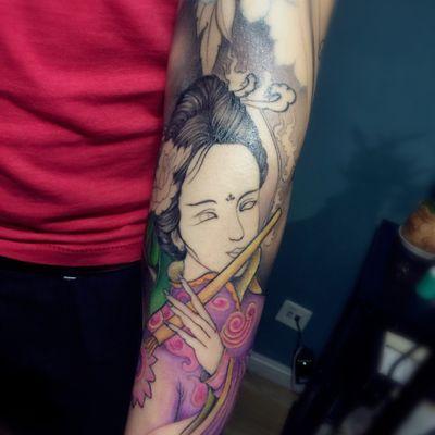 花臂.艺妓未完成纹身图
