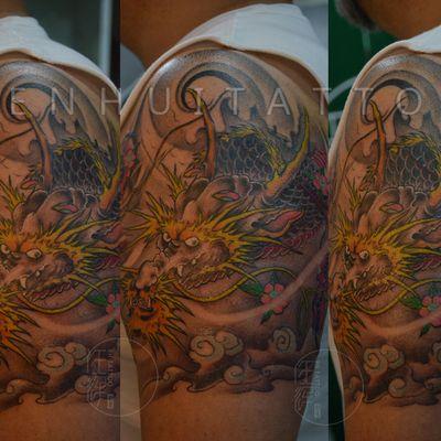作品--传统 大臂龙纹身款式图