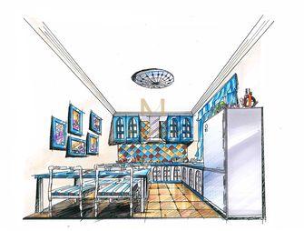 80平米地中海风格餐厅效果图