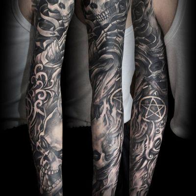 欧美黑白死亡骷髅纹身图