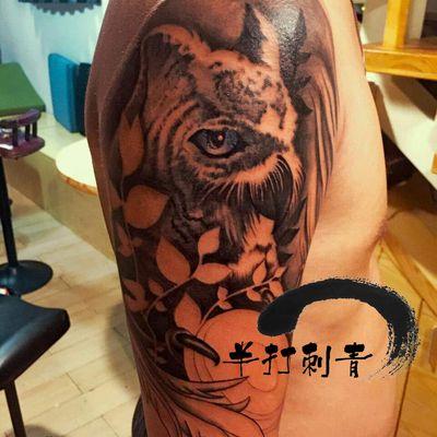 猫头鹰,未完成纹身款式图