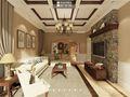 140平米别墅美式风格客厅背景墙图片