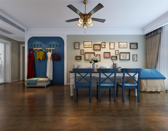 130平米三室一厅田园风格餐厅图片大全