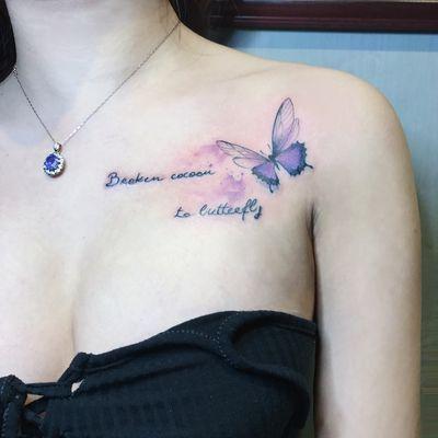 蝴蝶泼彩纹身图