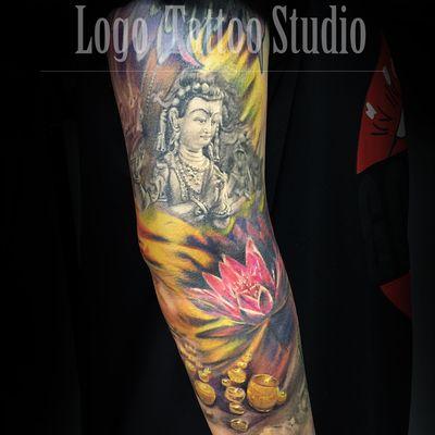 原创传统写实花臂纹身款式图