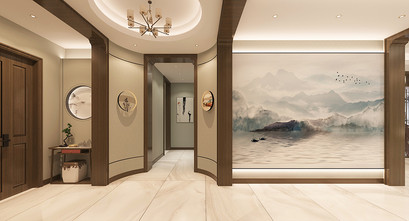 140平米四室三厅中式风格玄关设计图