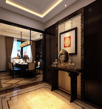 140平米四室两厅中式风格玄关背景墙装修效果图