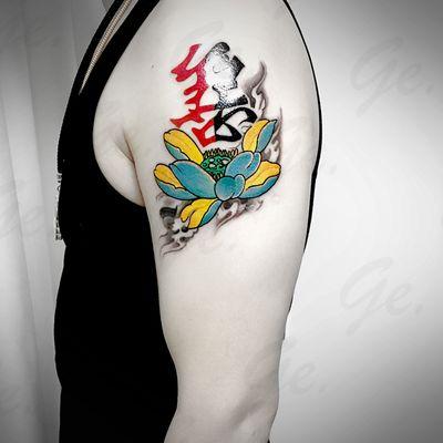 传统  莲花文字纹身款式图