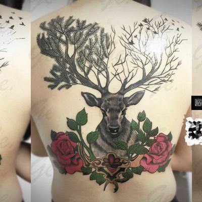 女生满背 鹿纹身图