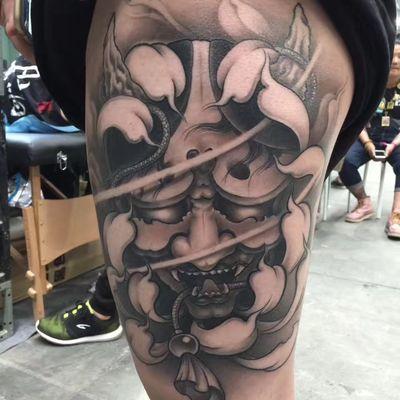 大腿般若纹身图