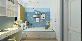 130平米三室兩廳美式風格書房圖片