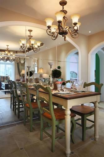 110平米三室两厅田园风格餐厅装修案例