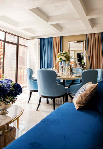 富裕型110平米三室两厅田园风格餐厅图