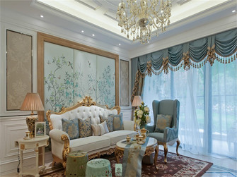 90平米法式风格客厅图片