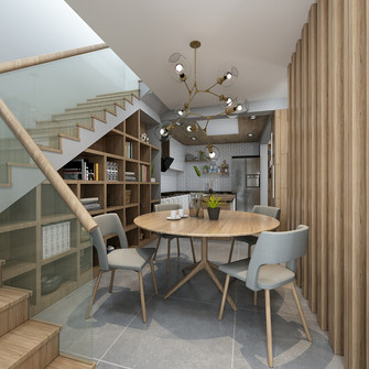 140平米别墅宜家风格楼梯间装修案例