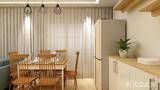 90平米三室一厅田园风格餐厅设计图