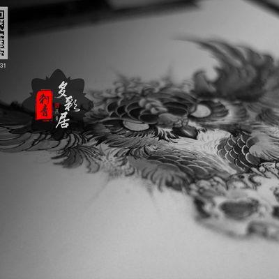 暗黑猫头鹰手稿纹身图