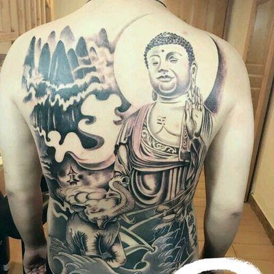 满背大日如来纹身图