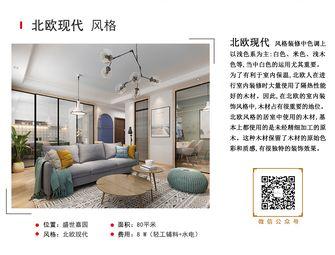 经济型80平米三室一厅混搭风格客厅装修效果图