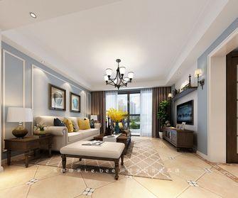 80平米三室两厅美式风格客厅壁纸效果图