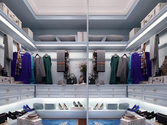 100平米三室两厅欧式风格衣帽间效果图