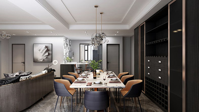 140平米复式英伦风格餐厅图片